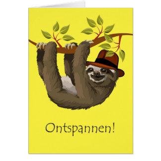 Grattis på pension i holländare, Sloth Hälsningskort