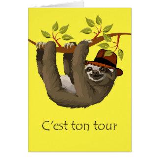 Grattis på pensionen i franskt, Sloth Hälsningskort
