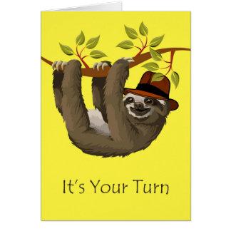 Grattis på pensionen, Sloth med hatten Hälsningskort