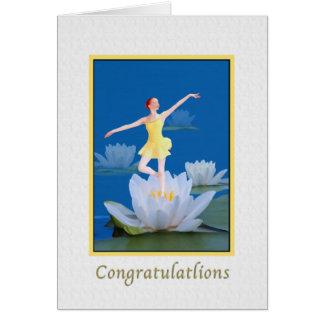 Grattis som dansar vattenälvakortet hälsningskort