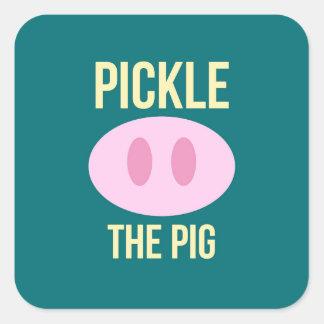 Grava packen för grislogotypklistermärken fyrkantigt klistermärke