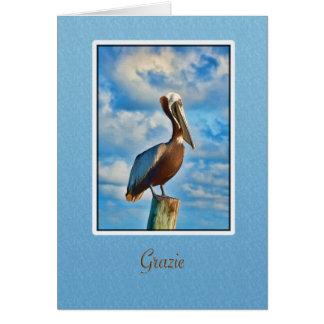 Grazie tack, italienare, pelikan hälsningskort