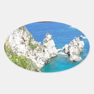 greece i ett fönster ovalt klistermärke