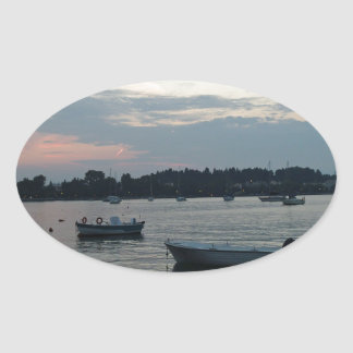 greece solnedgång ovalt klistermärke