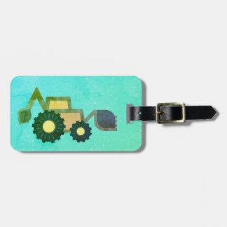 Green backhoe, cute, minimalist, flat design bagagebricka