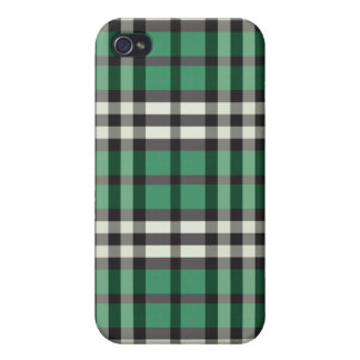 Green/Black Plaid Pern Cover For iPhone 4
