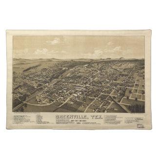 Greenville Hunt County Texas karta (1886) Bordstablett