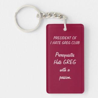 Greg klubb  rektangulärt enkelsidig nyckelring i akryl