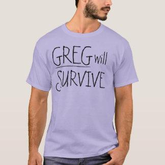 Greg ska överlever svart text tee shirts