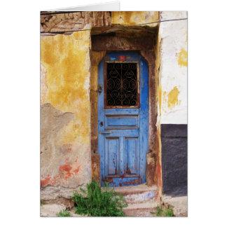 Grekisk blåttdörr - Crete Hälsningskort
