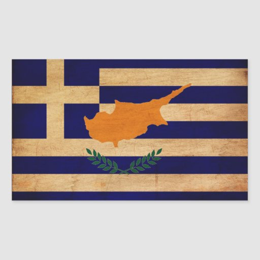 Grekisk Cypern flagga Rektangelformat Klistermärke