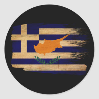 Grekisk Cypern flagga Rund Klistermärke