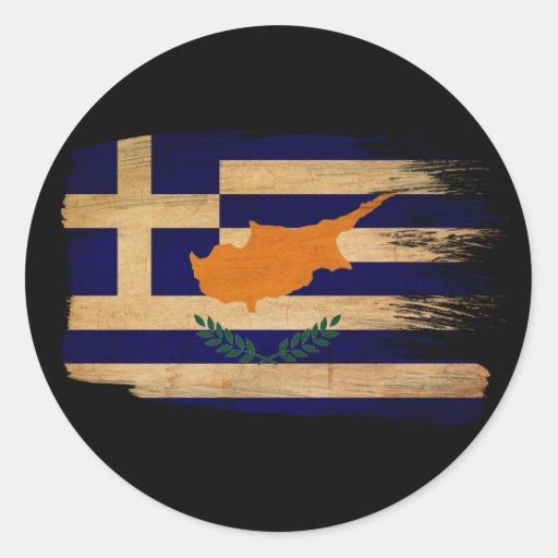 Grekisk Cypern flagga Runda Klistermärken