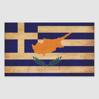 Grekisk Cypern flagga Rektangulärt Klistermärke
