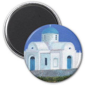 Grekisk cypriotisk kyrka för blått och för vit magnet