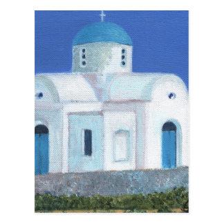 Grekisk cypriotisk kyrka för blått och för vit vykort
