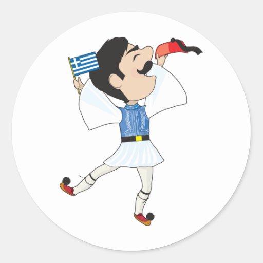 Grekisk Evzone dans med flagga Runda Klistermärken