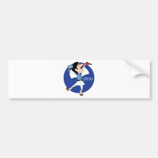 Grekisk Evzone dans med flagga OPA! Bildekal