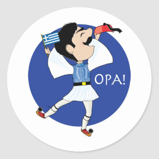 Grekisk Evzone dans med flagga OPA Rund Klistermärke