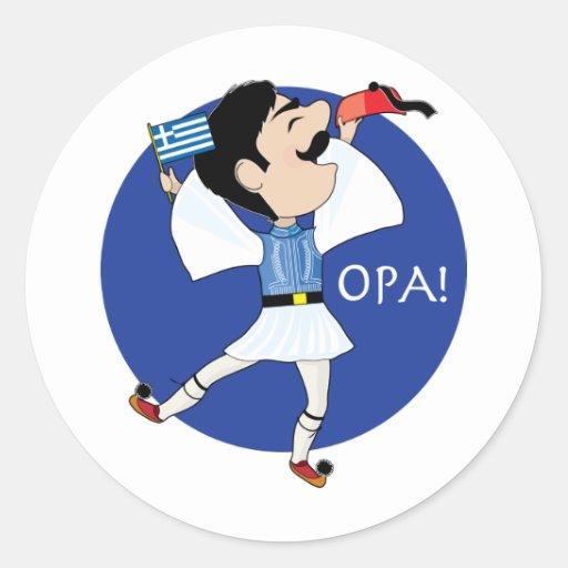Grekisk Evzone dans med flagga OPA! Rund Klistermärke
