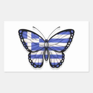 Grekisk fjärilsflagga rektangelformade klistermärken