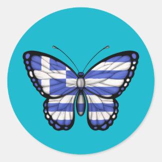 Grekisk fjärilsflagga runda klistermärken