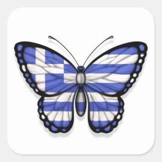 Grekisk fjärilsflagga fyrkantiga klistermärken