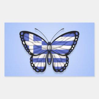 Grekisk fjärilsflagga på blått rektangelformade klistermärken
