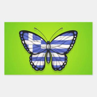 Grekisk fjärilsflagga på grönt klistermärken