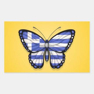 Grekisk fjärilsflagga på gult retangel klistermärke