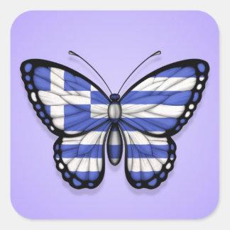 Grekisk fjärilsflagga på lilor fyrkantigt klistermärke