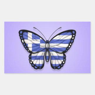 Grekisk fjärilsflagga på lilor retangel klistermärke