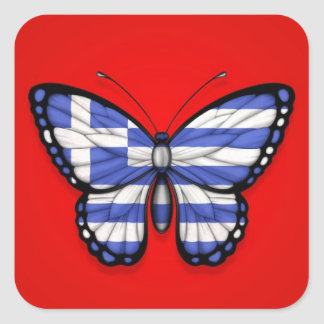 Grekisk fjärilsflagga på rött klistermärken