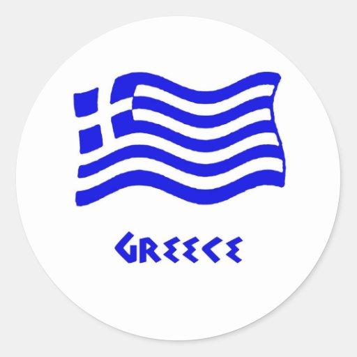 Grekisk flagga (att vinka) runda klistermärken