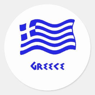 Grekisk flagga (att vinka) runt klistermärke