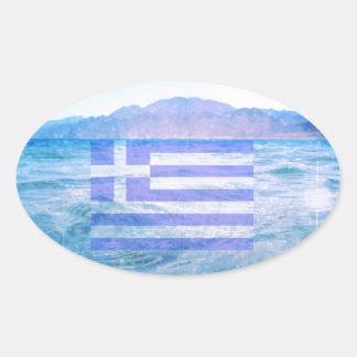 GREKISK FLAGGA OVALFORMAT KLISTERMÄRKE