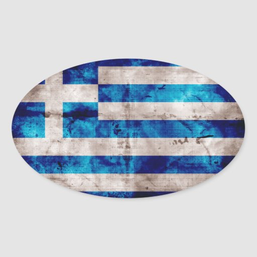 Grekisk flagga ovala klistermärken