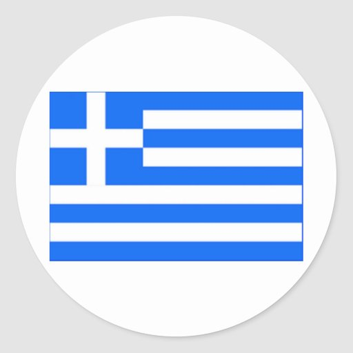 grekisk flagga rund klistermärke