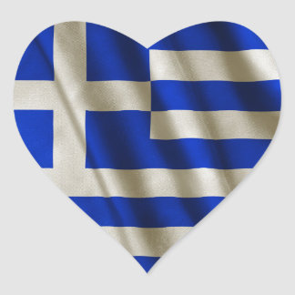 Grekisk flagga hjärtklistermärken