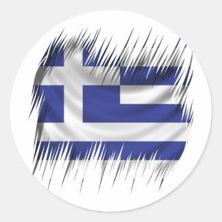 Grekisk flagga för dokumentförstörare rund klistermärke