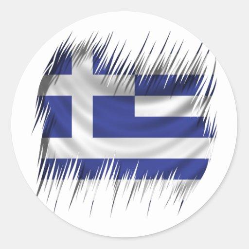 Grekisk flagga för dokumentförstörare runda klistermärken