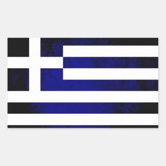 Grekisk flagga för färgrik kontrast rektangelformat klistermärke