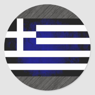Grekisk flagga för färgrik kontrast rund klistermärke