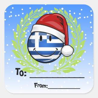 Grekisk flagga för julstil fyrkantigt klistermärke