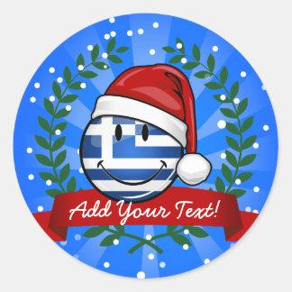 Grekisk flagga för julstil runt klistermärke