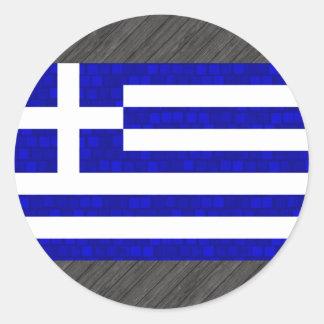 Grekisk flagga för modernt mönster rund klistermärke
