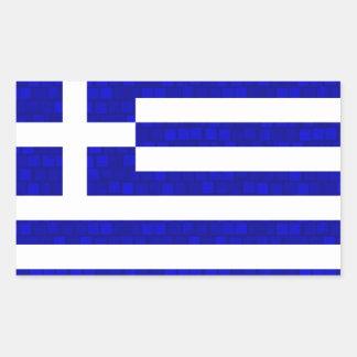 Grekisk flagga för modernt mönster rektangulärt klistermärke