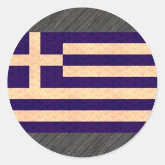 Grekisk flagga för vintagemönster rund klistermärke