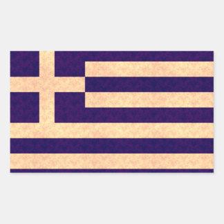 Grekisk flagga för vintagemönster rektangulärt klistermärke