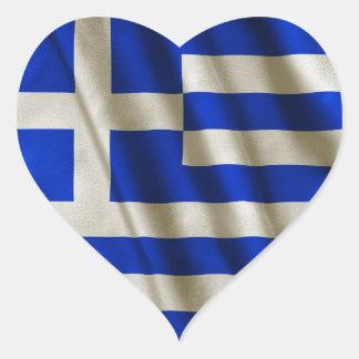 Grekisk flagga hjärtformat klistermärke